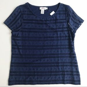 Vineyard Vines Eyelet Knit Mix Top Tee Size S